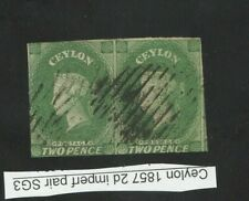 CEYLON 1857 CLASSIC IMPERF PROOF SG 3 2 d PENCE GREEN  VF WATERMARK PAPER.ASIA