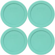 Pyrex 7200-PC Sea Glass Blue/Green Plastic Round Replacement Lid (4-Pack)