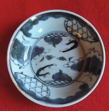 Antique Japanese Porcelain Bowl Blue and White Landscape Honeycomb 19th c.
