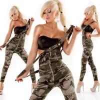 Salopette donna stretch militare pantalone army elasticizzato bottoni zip oro