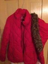 GUESS Down Coat women's quilted Hooded, Pockets Size Small Winter Warm Parka Red