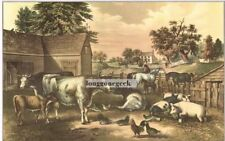 CURRIER and IVES American Farm Yard - Evening 1952 Print Cows Pigs Chickens