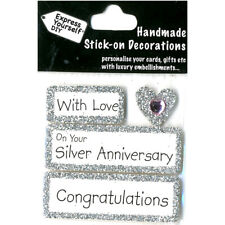 Express Yourself Silver 25th Wedding Anniversary DIY Greeting Card Topper NEW