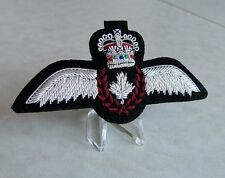 RCAF Royal Canadian Air Force Pilot Full Size Silver Wing Badge Hand Embroidered