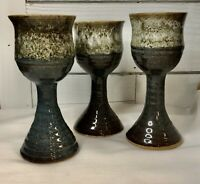 Set of 3 Studio Art Pottery Blue Handmade Goblets Chalice Artist Signed COX