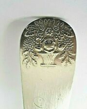 Coin Silver Basket / Flowers Shell Back 8 3/4'' Serving Spoon J Moore Ny,1826