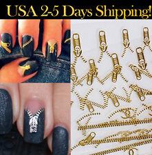 1-10 sheets Gold Silver Fashion Zipper Nail Water Sticker Nail Art Design 3D
