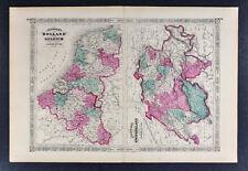1867 Johnson Map Holland Belgium Amsterdam Brussels - Switzerland Geneva Zurich