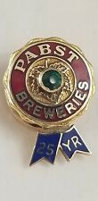 Vintage Pabst Breweries Blue Ribbon Beer 25 Yr Service 14k / Emerald Lapel Pin