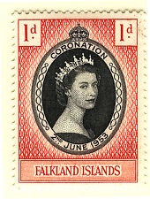 FALKLAND ISLANDS 1953 CORONATION BLOCK OF 4 MNH