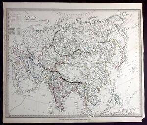 ASIA, 19th Century, CHINA, INDIA, JAPAN, original antique map, SDUK, 1844