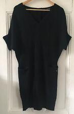 PHARD Women's Black V-Neck Batwing Short-Sleeved Jumper Dress S UK 8-10 EU 36-38