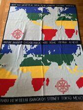 Vtg 1988 Vuteks Vukovar Crown Crafts World Map Throw Blanket 60 x 80 in