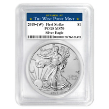 2018 (W) $1 American Silver Eagle PCGS MS70 West Point First Strike Label