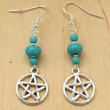 Pentagram Earrings With Turquoise Beads & Sterling Silver Hooks New Drops LB320