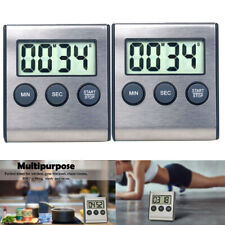 2pcs Large Digital Lcd Kitchen Cooking Timer Count-Down Up Clock Alarm Magnetic