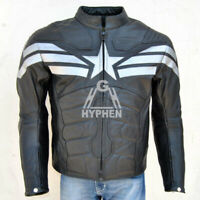 Captain America Winter Soldier Black Motorbike Leather Jacket With Safety Armour