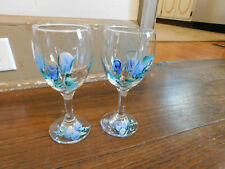 "NEW lot Set of 2 Hand Painted Blue Floral Clear Wine Glasses 6 1/4"" Lovely!"