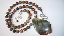 SALE  Multi Color Red Creek Picasso Jasper Pendant Bead Sterling Silver Necklace