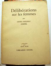AMIEL/DELIBERATION SUR LES FEMMES/STOCK/1954/EO/EX MARAIS CREVECOEUR/