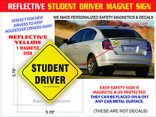 REFLECTIVE STUDENT DRIVER SAFETY Magnetic Sign NEW Heavy Duty On & Off with Ease
