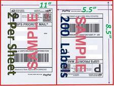 S2 200 Shipping Labels  Buy TWO get ONE FREE Blank Shipping Labels-2Per Sheet