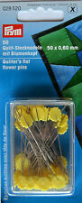 Prym 0.60 X 50 Mm Quilters Flat Flower Pins Silver/ Yellow