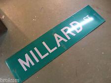 "Large Original Millard St Street Sign 48"" X 12"" White Lettering On Green"