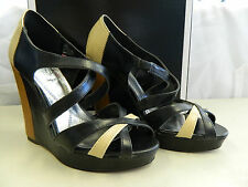 Baby Phat New Womens Juno Black Tan Wedge Sandals 9 M Shoes