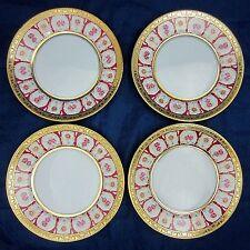 "HAVILAND & PARLON 4 Piece Lot ROSE D'OR Golden Roses 6.25"" BREAD PLATES Dishes"