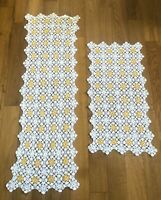 Vintage Hand Crochet Doily Table Runner Dresser Scarf Yellow White Set of 2