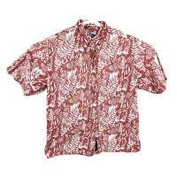 Reyn Spooner Mens Large Red Floral Hawaiian Shirt Button Up Cotton Aloha