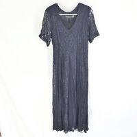 Nostalgia Womens Dress Floral Lace Lined Midi Maxi 90s Navy Blue Size Small Boho