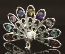 Swarovski Multicolor Crystal Studded Peacock Figurine Silver Plated