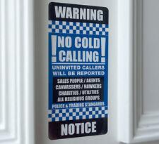 NO COLD CALLERS Door Sticker - Stop Sales Calling Warning Notice 7x14.5cm BB