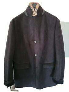Nwot $1200 Gimos Shearling Suede Leather Blazer Jacket Coat Mens Large 42 44 54