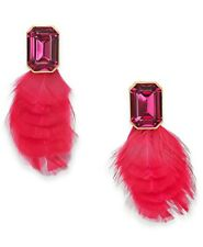 """Kate Spade """"In Full Feather"""" Crystal and Feather Stud Earring, Pink-multi, NWT"""
