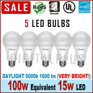 Maxlite LED Light Bulbs Daylight Dimmable 15Watt 100 Watt Equivalent 5000k QTY 5