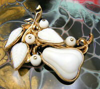 Crown Trifari Pat Pend Vintage Brooch Poured Glass Pear Brooch White Gold Tone