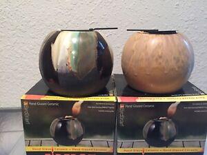 BIRDBRAIN FIREPOT Ceramic Hand Glazed- Each Unique- Lot Of 2-NEW