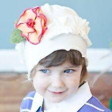 Bébé Enfant Bonnet BLANC avec Fleur jaune Fleurs Feuilles Coton Cottonwhool NEUF