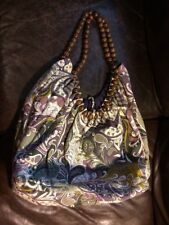 Large Purple Green Paisley Fabric Shoulder Bag with wooden bead handles