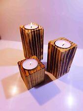 Kerzenständer / Teelichthalter geflammt, 3er Set, Massivholz Fichte