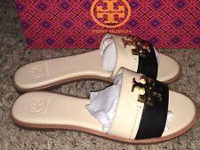 NWB Tory Burch Everly Slide Sandal Black Tan Leather Dulce De Leche : Size 8