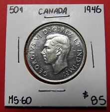 1946 Canada 50 Cent Silver Coin Fifty Half Dollar B722 - $85 MS-60