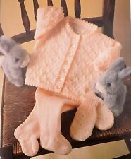 "Baby Vintage Knitting Pattern Jacket/Cardigan Leggings Mittens 16-22"" DK S4021"