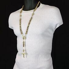 Men's Hip Hop 8mm Gold Bead 14kt G.P Rosary Prayer Hand & Jesus Cross Necklace
