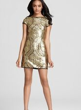 Nanette Lepore Shopbop Gold Society Sheath Dress Sequins 6 Made In NYCFree Ship!