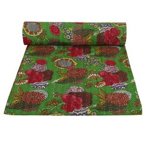 Handmade Stitched Cotton P. GREEN MULTI Colorful Fruits printed Bedspread Kantha
