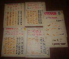 Vintage 1966 Stenso Lettering Guides Sets in Envelope + 40's Extras